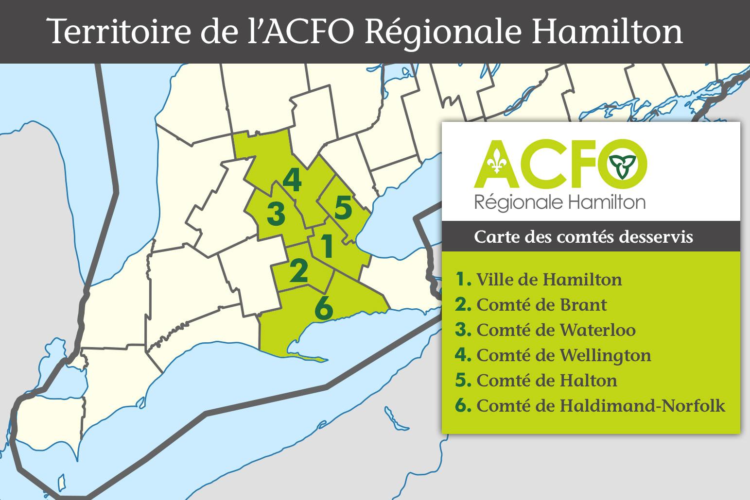 Territoire de l'ACFO Régionale Hamilton - carte des comtés desservis